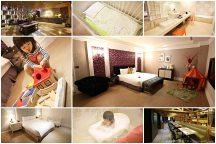 台中【悅棧酒店Mirage Hotel】。超大30坪親子房都可以開運動會啦!小人馬桶嬰兒床、積木帳棚軌道車,大人住得好舒適,小孩玩得超開心!