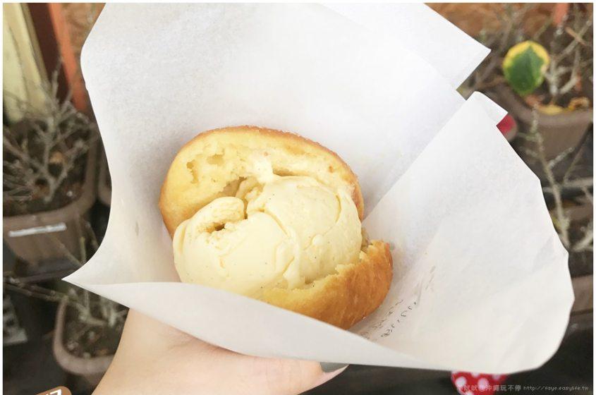 【沖繩】自駕親子旅行。宇宙中第三好吃的Masalada現炸甜甜圈冰淇淋,現點現炸甜甜圈,好香好酥好好吃!往返美麗海水族館不可錯過的小點心!(宇宙で3番目においしい揚げたてマラサダドーナツアイスのお店)